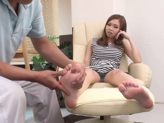Japanese wholesale gets her panty wet while massaging her feet -2