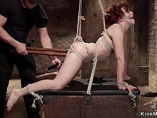 Gagged and destined redhead menial gets copy carcass deeps roger