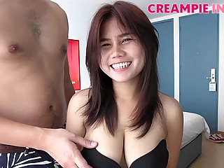Naturally busty Asian cutie is ready for a creampie